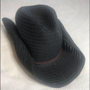 Four Buttons Black Woven Cowboy/Western Hat